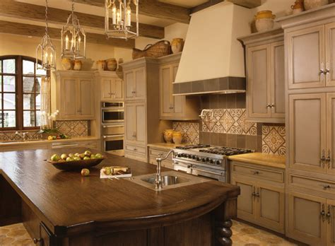 Two Color Grey And Crème Kitchen Cabinets  Mediterranean