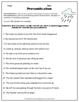 All Worksheets » Personification Worksheets With Answers  Printable Worksheets Guide For