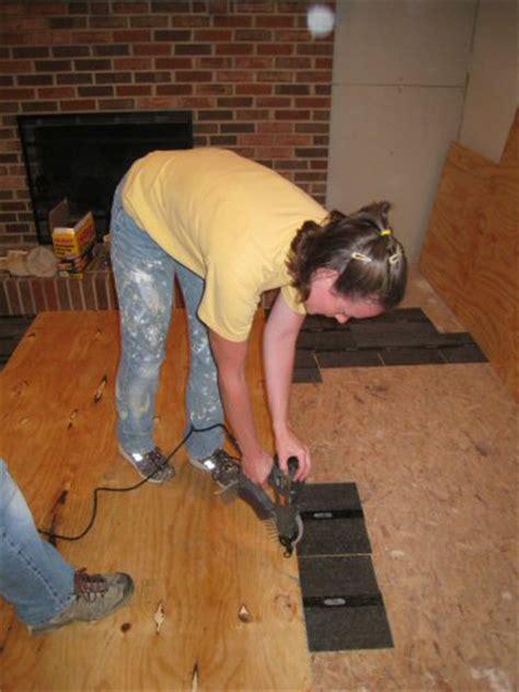 how to level a plywood or osb subfloor using asphalt shingles construction felt one project