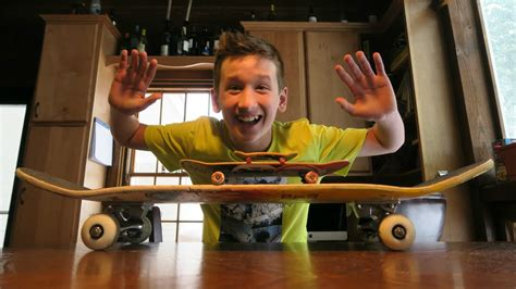 three skate tricks on three kinds of boards tech deck to handboard to skateboard