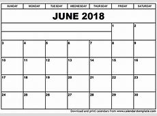 June 2018 Printable Calendar calendar month printable