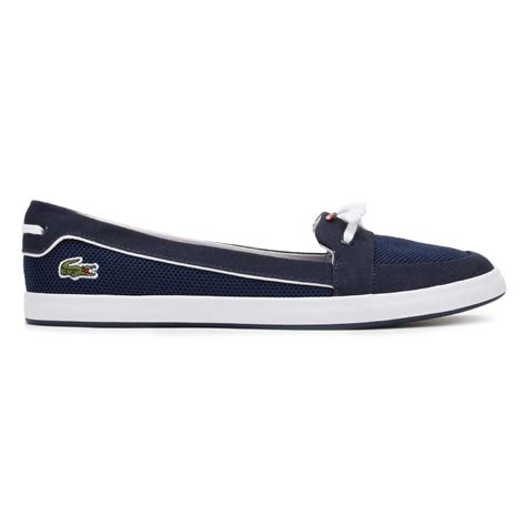 Women S Blue Boat Shoes by Lacoste Womens Boat Shoes Navy Blue Lancelle 117 1 Caw