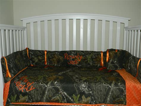 camo mossy oak and orange minky dot baby crib bedding set with and free monograms 199 00 via