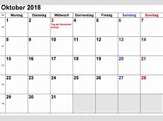 Oktober 2018 Kalender