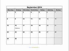 Kalender september 2014 met weeknummers en feestdagen in