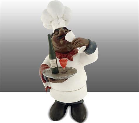 black chef kitchen statue wine table decor