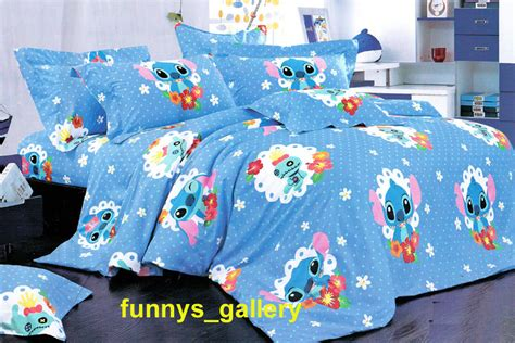 lilo stitch bedding set b fitted sheet duvet cover sheet and 2 pillow cases ebay