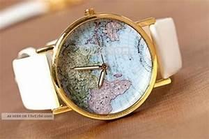 Retro Uhr Damen : damen retro blogger uhr armbanduhr wei gold mit weltkarte ~ Markanthonyermac.com Haus und Dekorationen