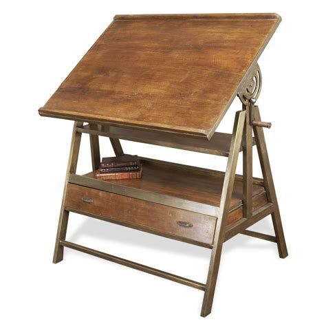 draftsman s industrial loft wood iron desk table
