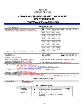 Catamaran Rx Claim Form by Fillable Online Ncpdp Payer Sheet Template Catamaran Fax