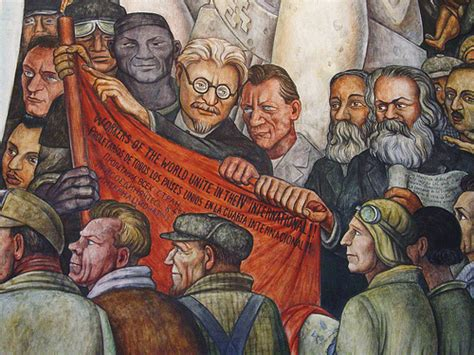 detail of diego rivera mural trotsky karl marx nelson rockefeller intrigue