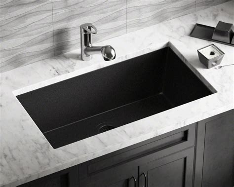 848black Large Single Bowl Undermount Trugranite Kitchen Sink