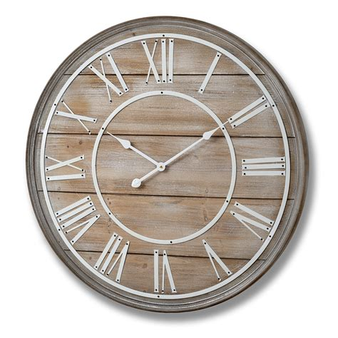 Large wooden wall clock (80cm)  Bedroom Furniture Direct