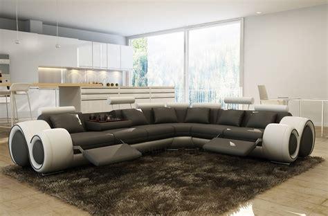 canap 233 d angle en 100 cuir italien 7 places excelia noir et blanc mobilier priv 233