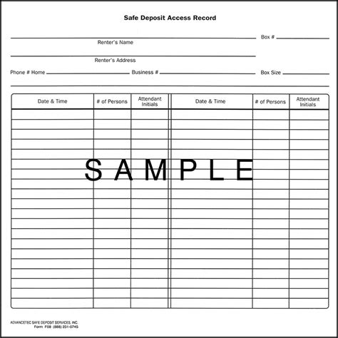 safe deposit box inventory form f08 safe deposit access record 50 00 advancetec