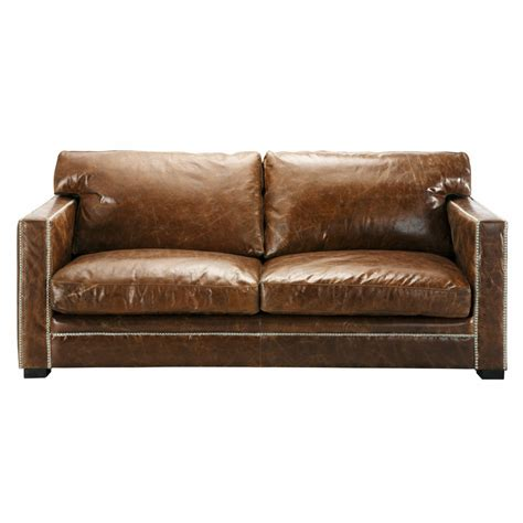 canap 233 3 4 places en cuir marron dandy maisons du monde