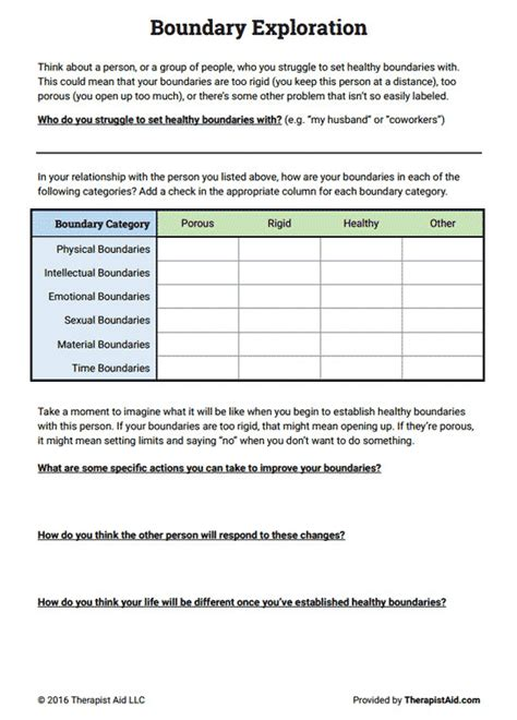 Healthy Boundaries Worksheet Homeschooldressagecom