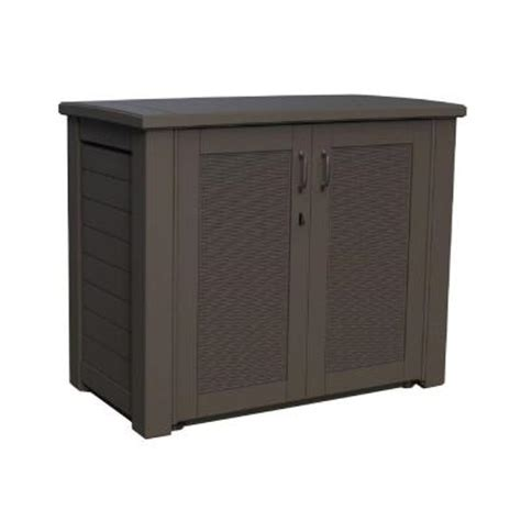 Home Depot Outdoor Storage Cabinets by Rubbermaid 123 Gal Bridgeport Resin Patio Cabinet 1863391