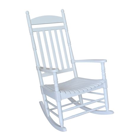 shop international concepts white wood slat seat outdoor rocking chair at lowes