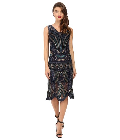 unique vintage deco beaded caspian flapper dress navy gold zappos free shipping both ways