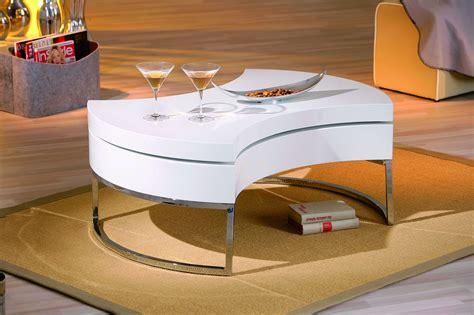 table basse design pivotante avec rangement blanc laque