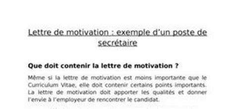 lettre de motivation secr 233 taire