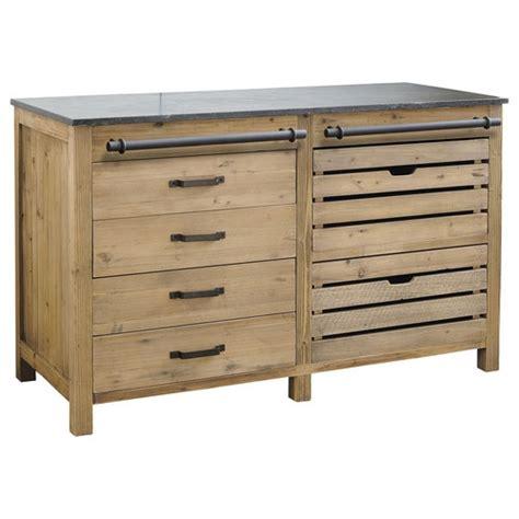 meuble bas de cuisine en bois recycl 233 l 140 cm pagnol maisons du monde