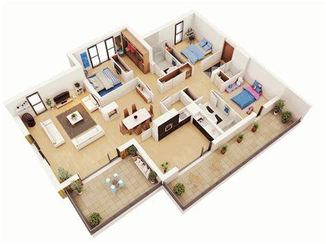 8 Room House Design : 25 More 3 Bedroom 3d Floor Plans