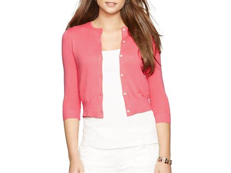 Ralph Lauren Lauren Cropped Knitted Cardigan In Pink (coral Rose)