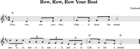 Sheet Music Row Your Boat by Row Row Row Your Boat Recorder Sheet Music