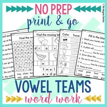 No Prep Vowel Teams Worksheets Phonics Word Work Bundle By The Designer Teacher