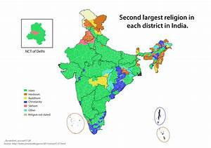 Second largest religion in each district in India [OC ...