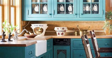 teal cabinets rustic look kitchen kitchen and