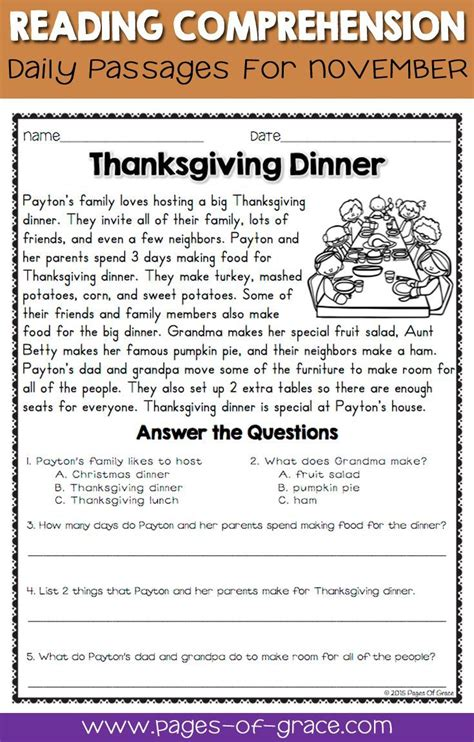 Reading Comprehension Passages And Questions For November  Pages Of Grace Resources Pinterest