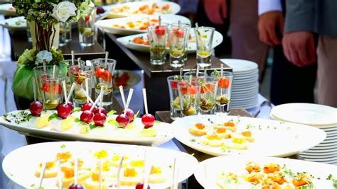 People Grab Appetizers Cocktail Party Catering Buffet