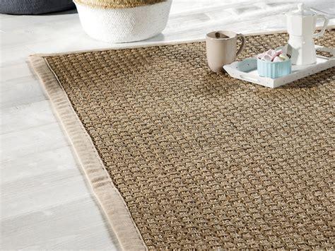 tapis jonc de mer tissage large avec ganse en coton millstone beige 160x230cm