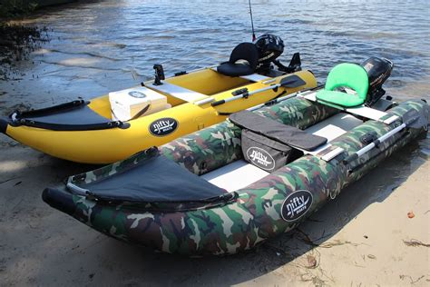 Blow Up Pontoon Boat by Nifty Boat Inflatable Fishing Kayak With Outboard Youtube