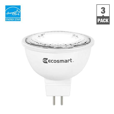 ecosmart 50w equivalent bright white mr16 gu5 3 dimmable led light bulb 3 pack a6gu53m50wesd02