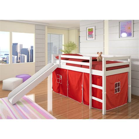 donco loft tent bed with slide white bunk beds loft beds at hayneedle