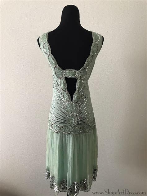 mint green flapper dress back deco weddings