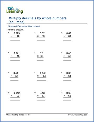 Grade 6 Multiplication Of Decimals Worksheets  Free & Printable  K5 Learning