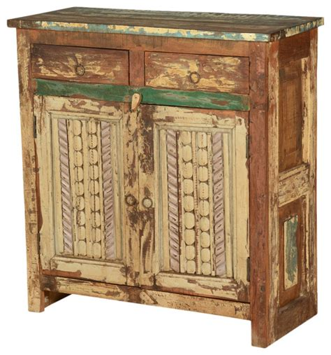 farmhouse distressed reclaimed wood free standing cabinet