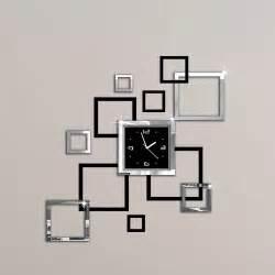 album argent et noir 3d bricolage miroir horloge murale design moderne relojes de pared montre