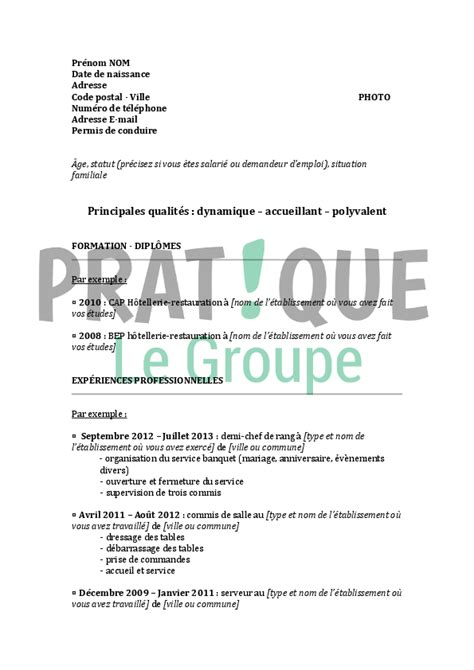 cv chef de rang restauration