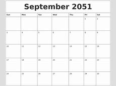 September 2051 Monthly Calendar To Print