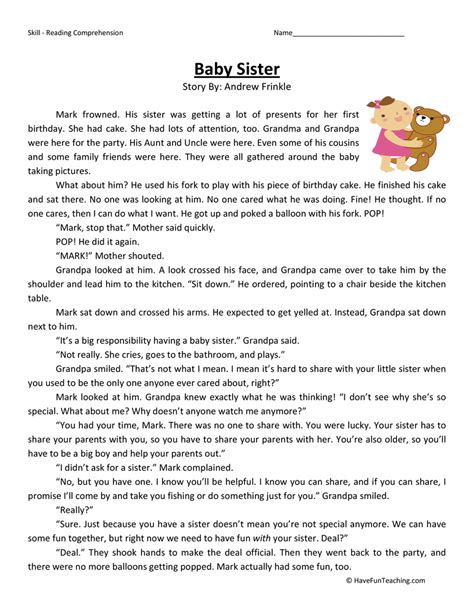 Free Second Grade Worksheets Reading Comprehension Homeshealthinfo