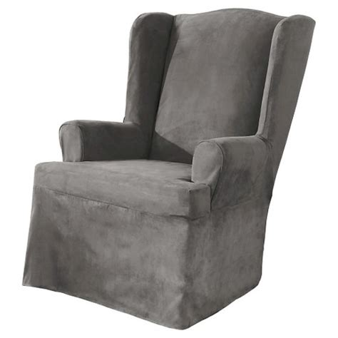 Grey Wingback Chair Slipcovers sure fit wing chair slipcover grey target