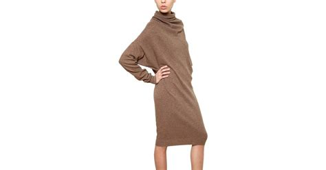 Lanvin Draped Wool Cashmere Knit Dress In Natural