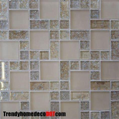 Sample Cream Crackle Glass Mosaic Tile Kitchen Backsplash