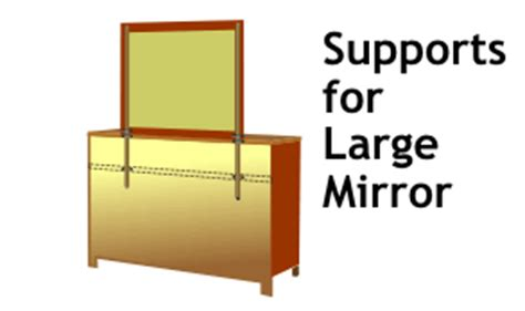dresser mirror supports for strong adjustable support of